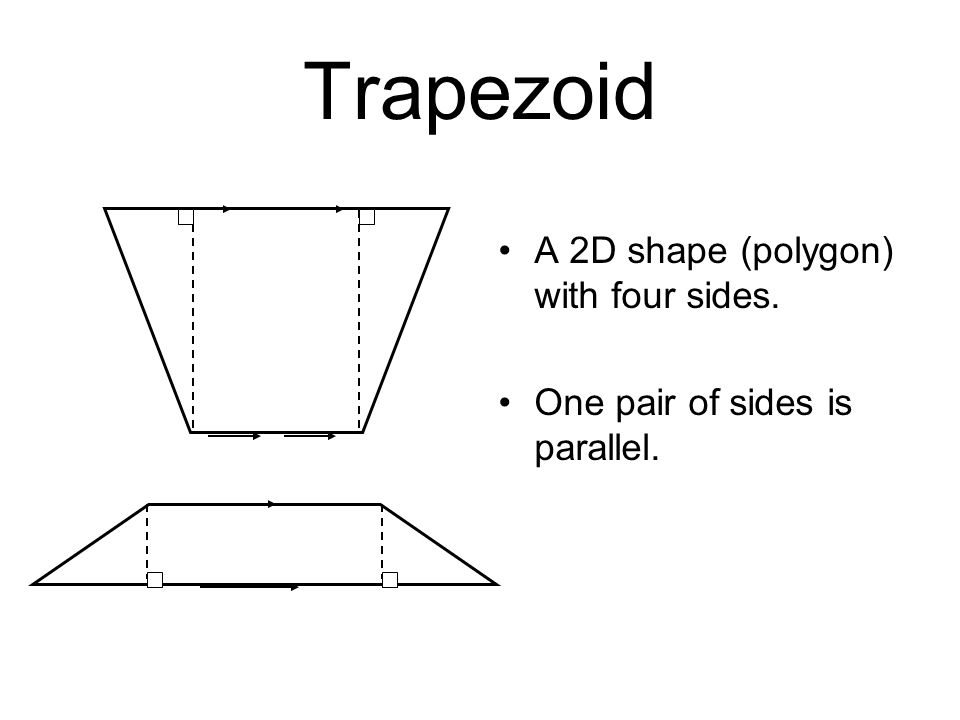 Trapezoid A 2D shape (polygon) with four sides.