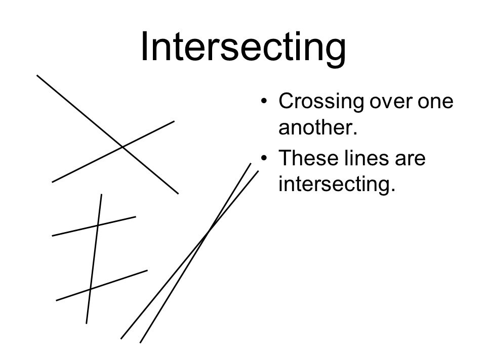 Intersecting Crossing over one another. These lines are intersecting.