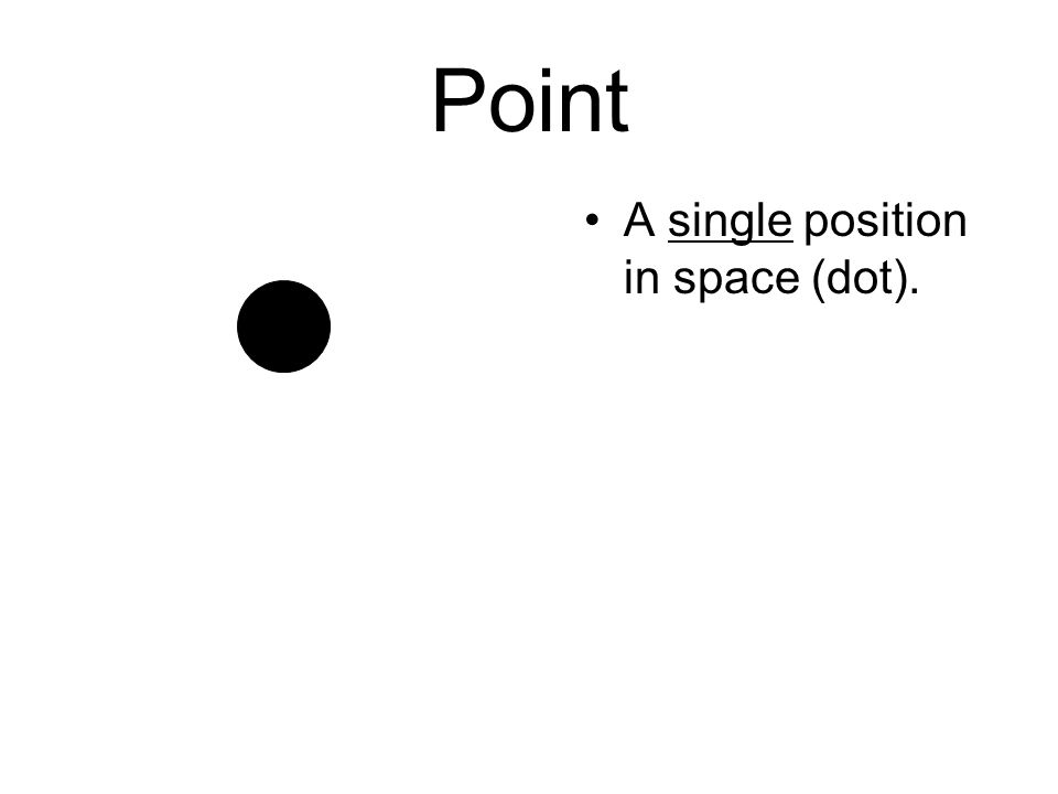 Point A single position in space (dot).