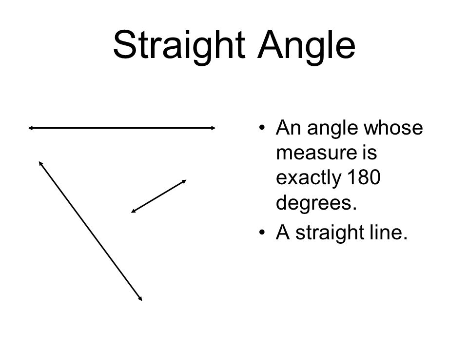 Straight Angle An angle whose measure is exactly 180 degrees.