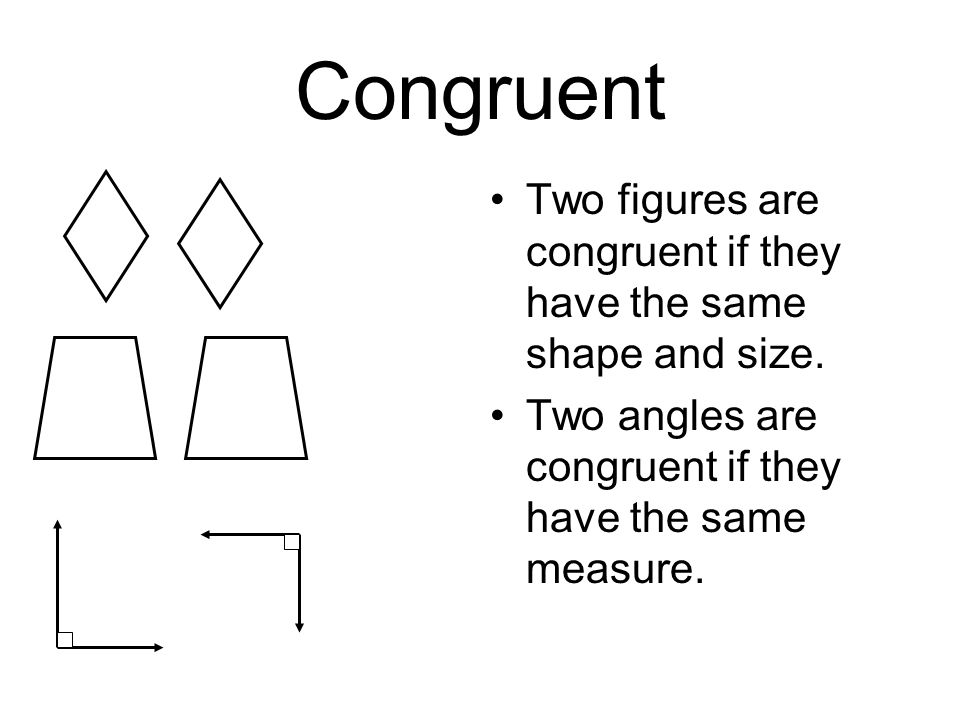 Congruent Two figures are congruent if they have the same shape and size.
