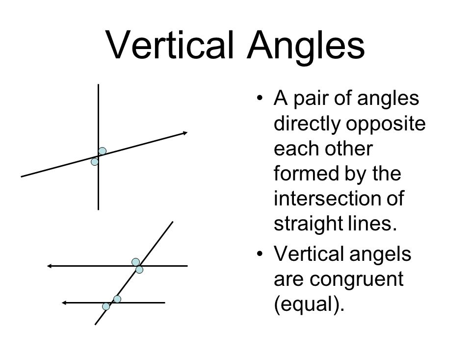 Vertical Angles A pair of angles directly opposite each other formed by the intersection of straight lines.