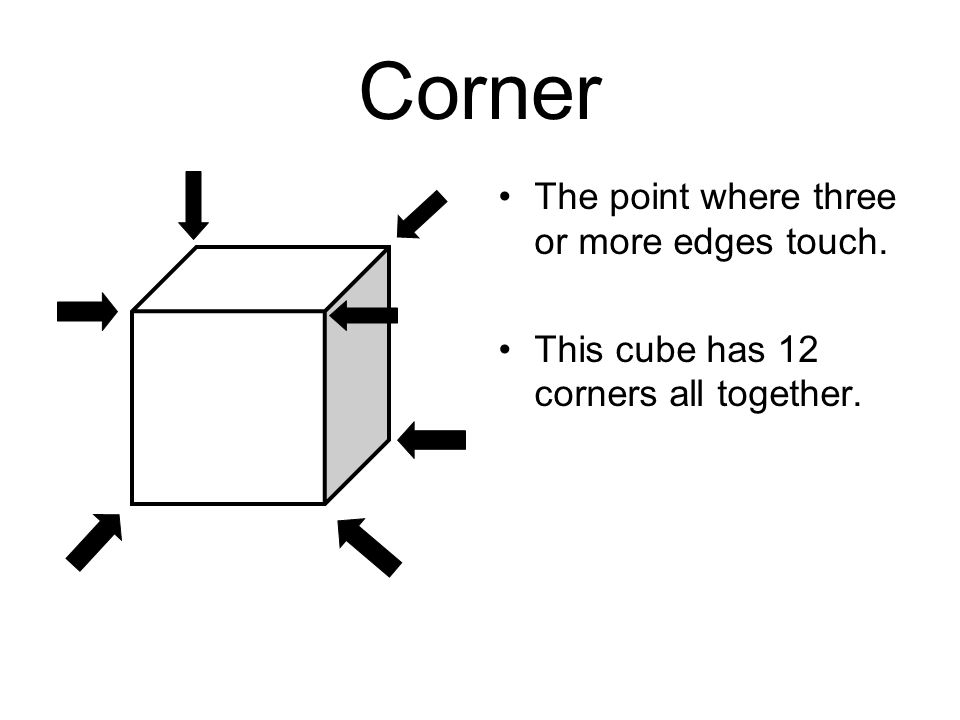 Corner The point where three or more edges touch.