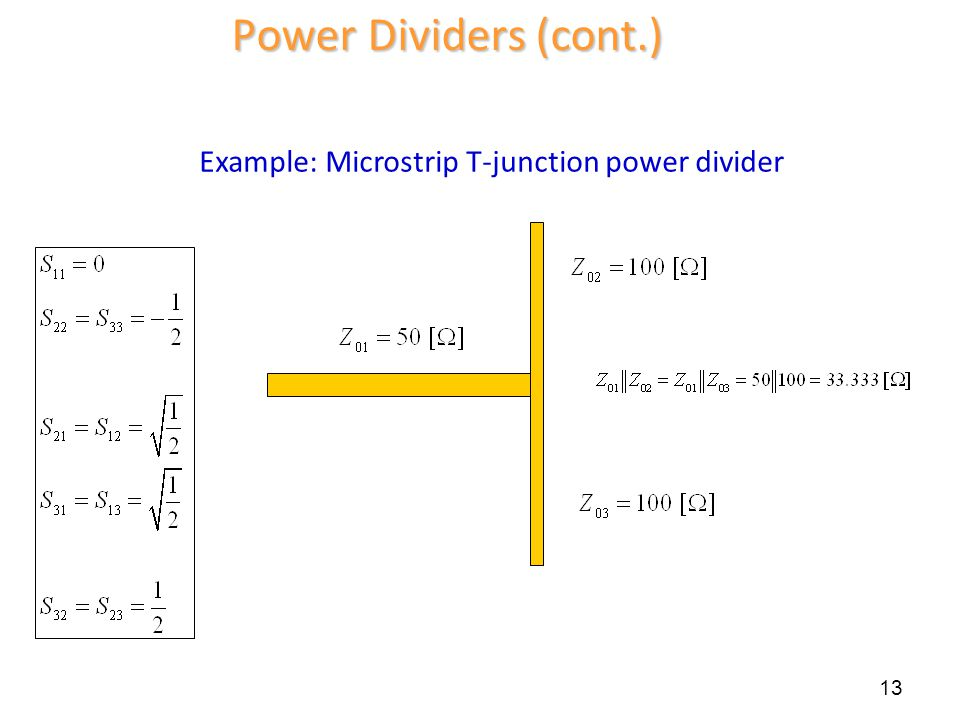Power Dividers (cont.) Example: Microstrip T-junction power divider