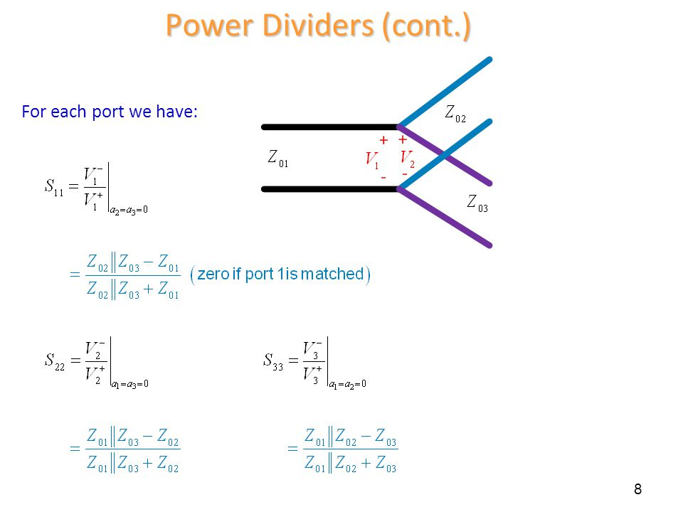 Power Dividers (cont.) For each port we have: