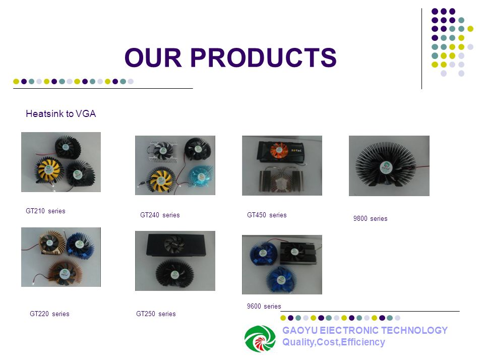 OUR PRODUCTS Heatsink to VGA GAOYU ElECTRONIC TECHNOLOGY