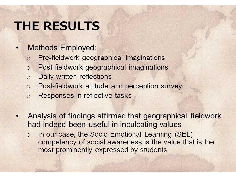 THE RESULTS Methods Employed:
