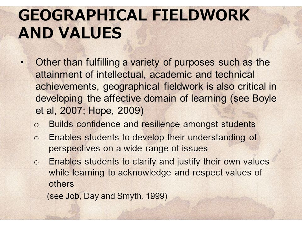 GEOGRAPHICAL FIELDWORK AND VALUES