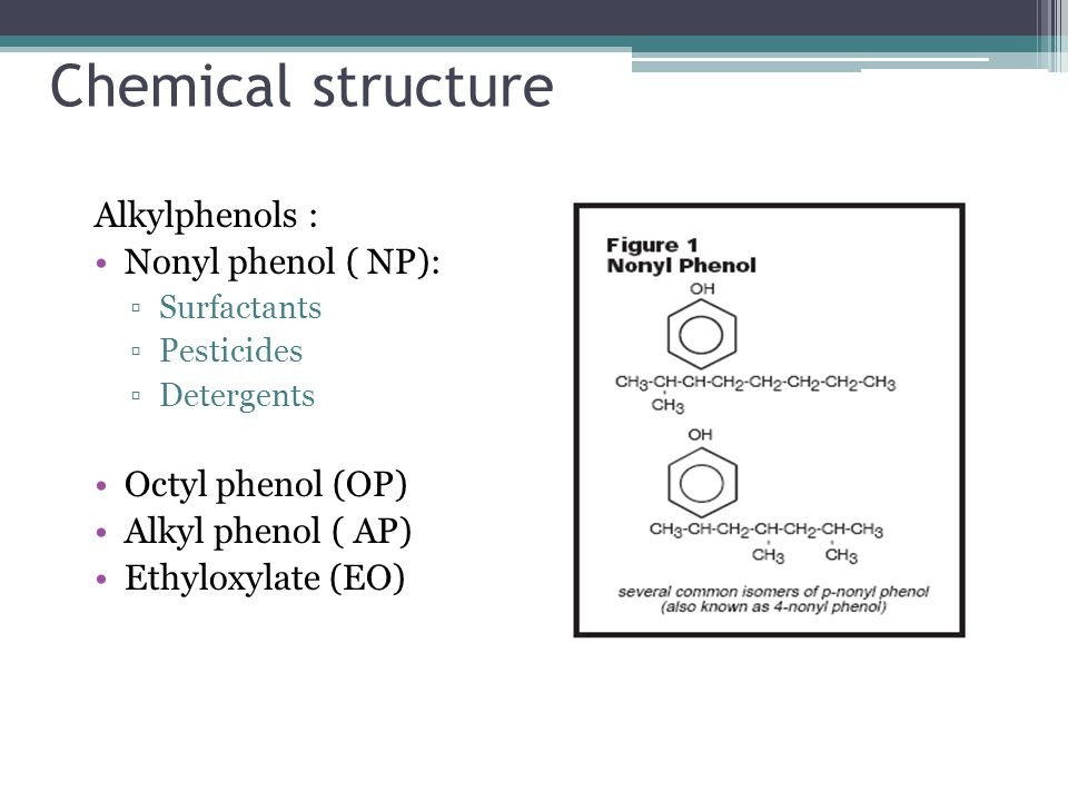 Chemical structure Alkylphenols : Nonyl phenol ( NP):