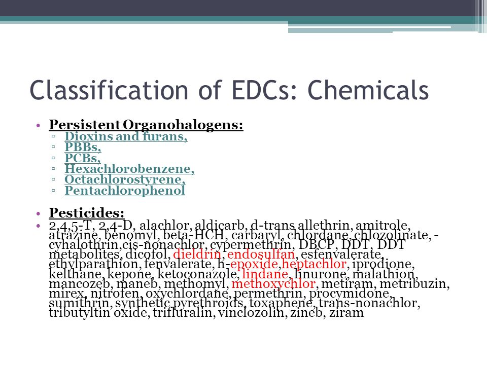 Classification of EDCs: Chemicals