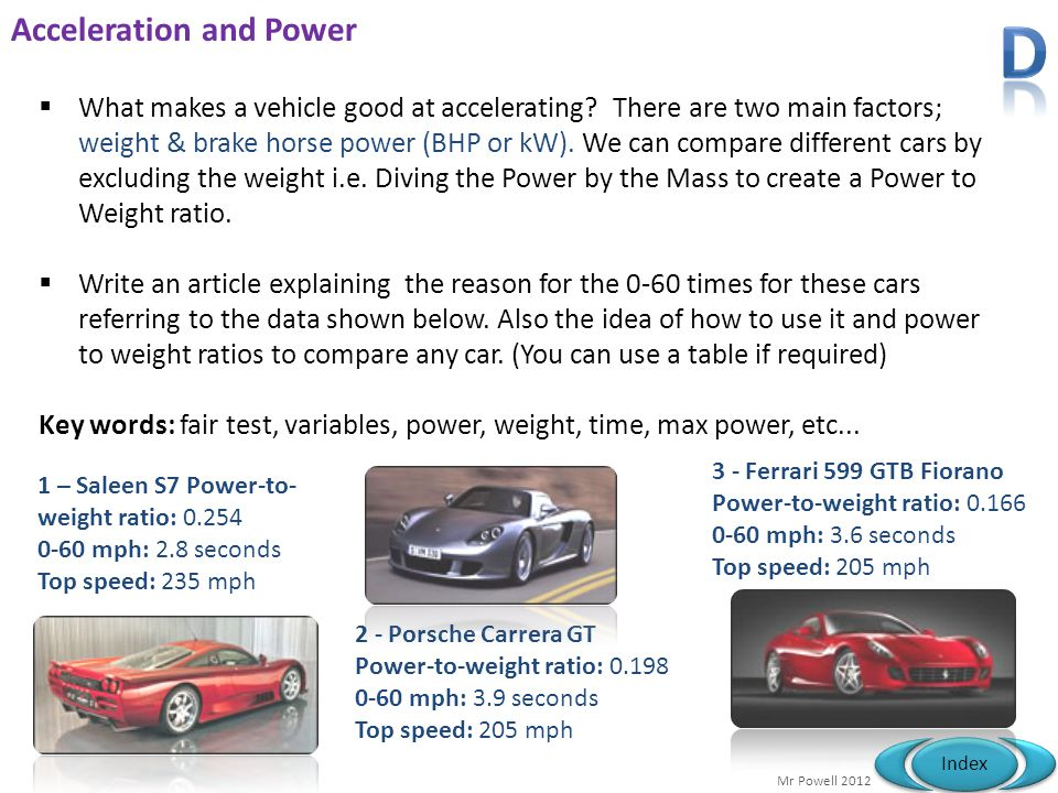 Acceleration and Power