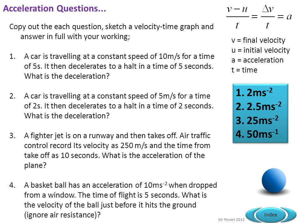 Acceleration Questions...