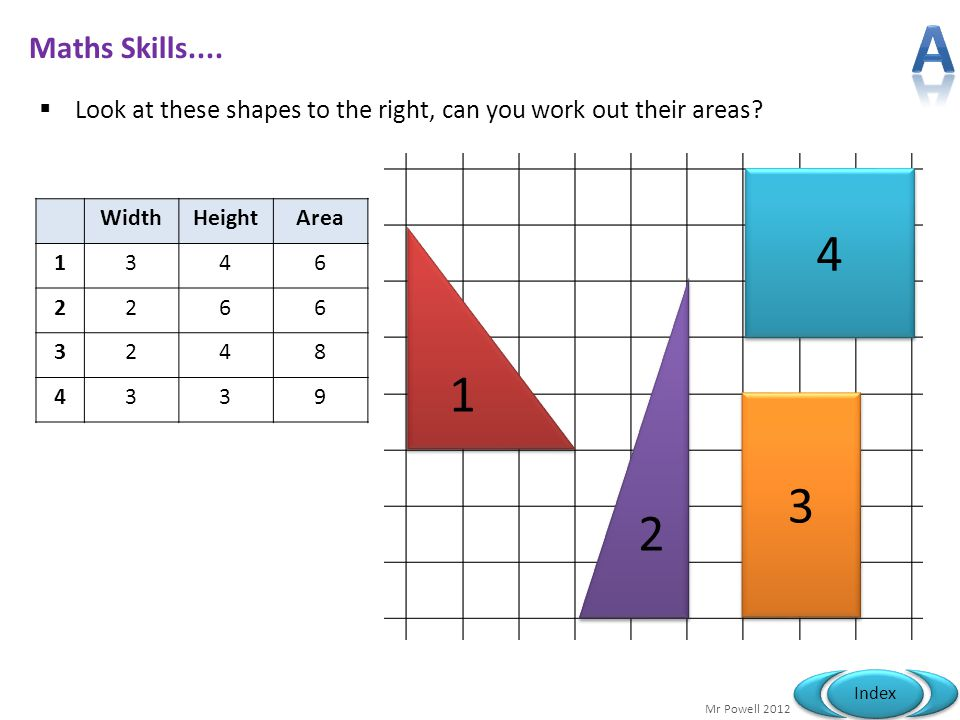 A Maths Skills.... Look at these shapes to the right, can you work out their areas 4. Width. Height.