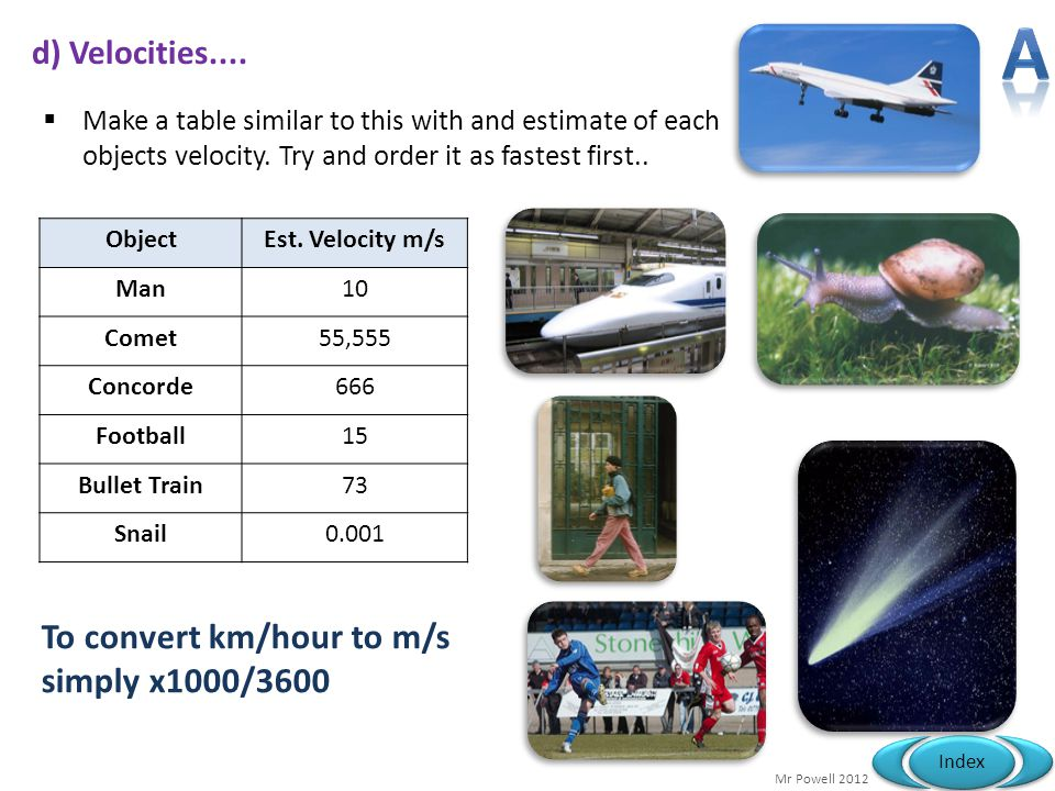 A To convert km/hour to m/s simply x1000/3600 d) Velocities....