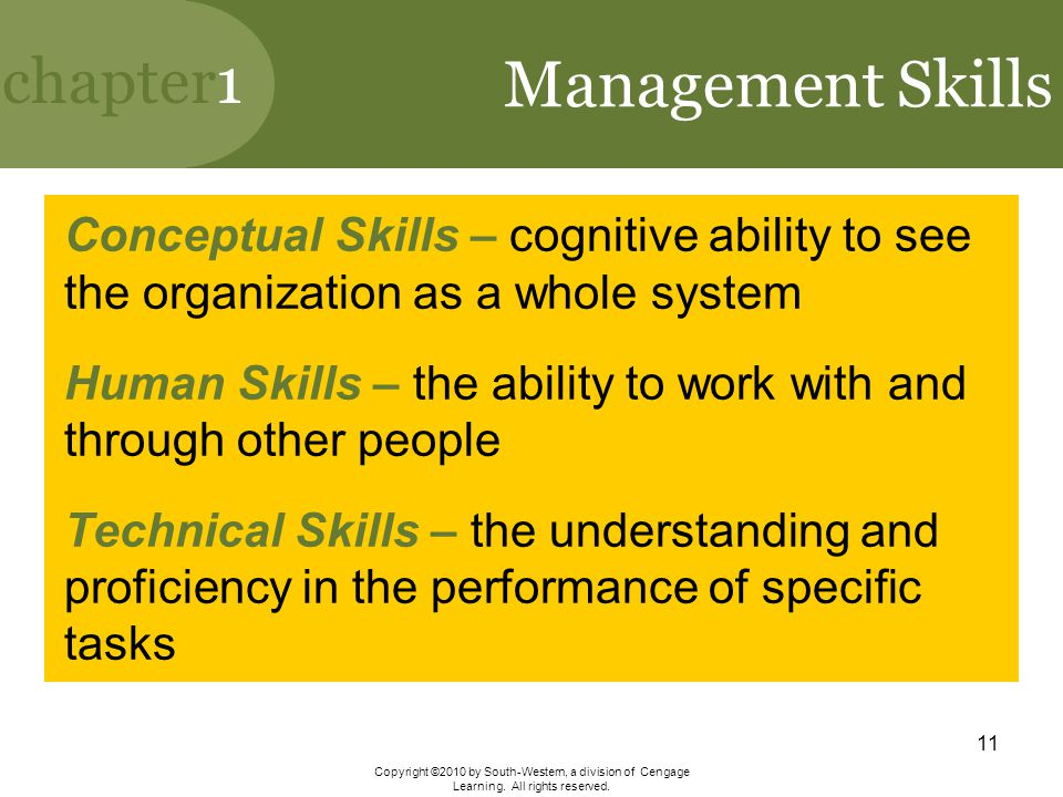 Management Skills Conceptual Skills – cognitive ability to see the organization as a whole system.
