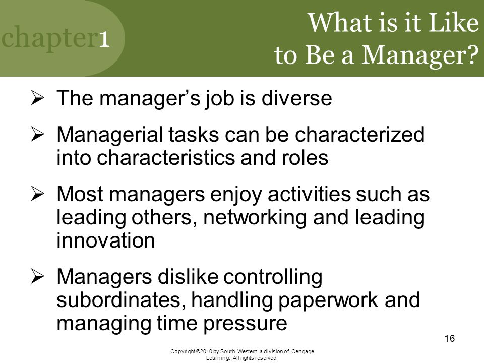 What is it Like to Be a Manager