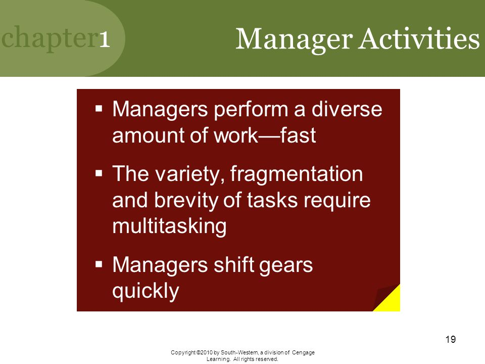 Manager Activities Managers perform a diverse amount of work—fast