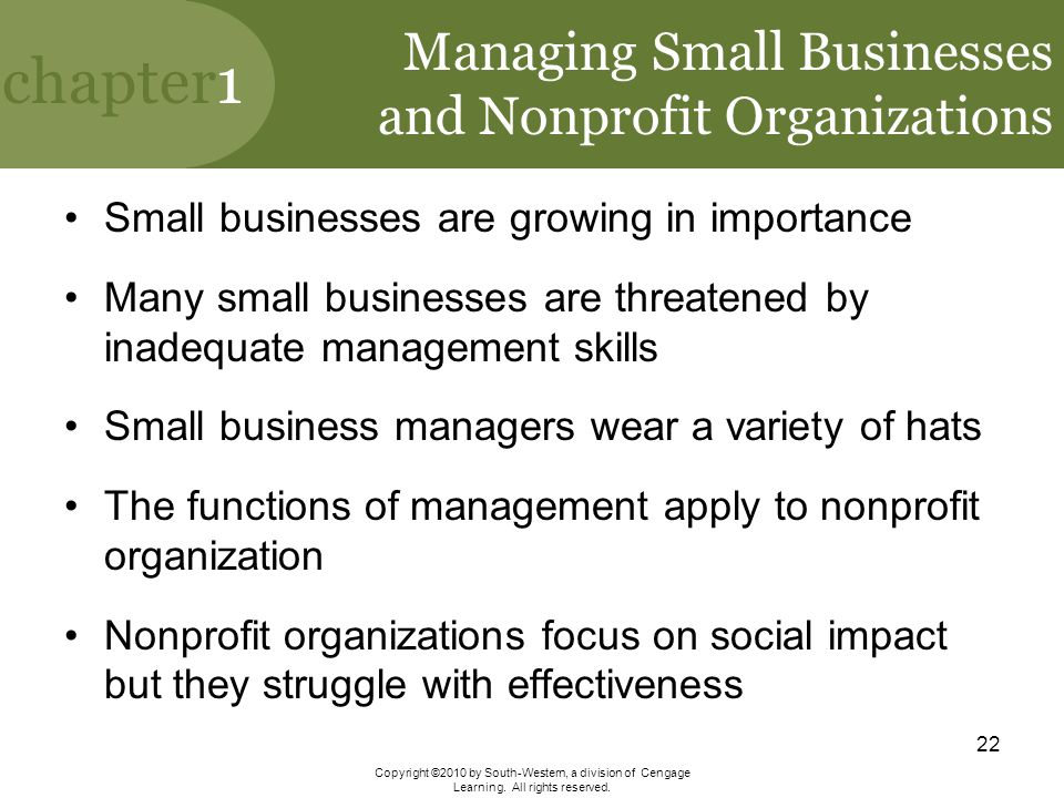 Managing Small Businesses and Nonprofit Organizations
