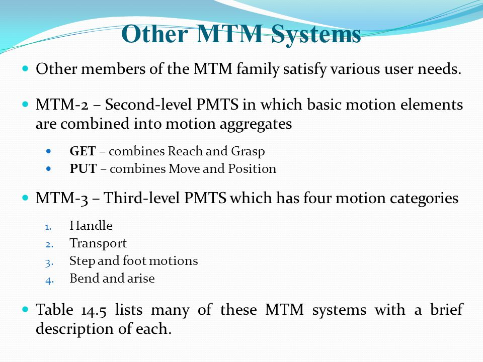 Other MTM Systems Other members of the MTM family satisfy various user needs.