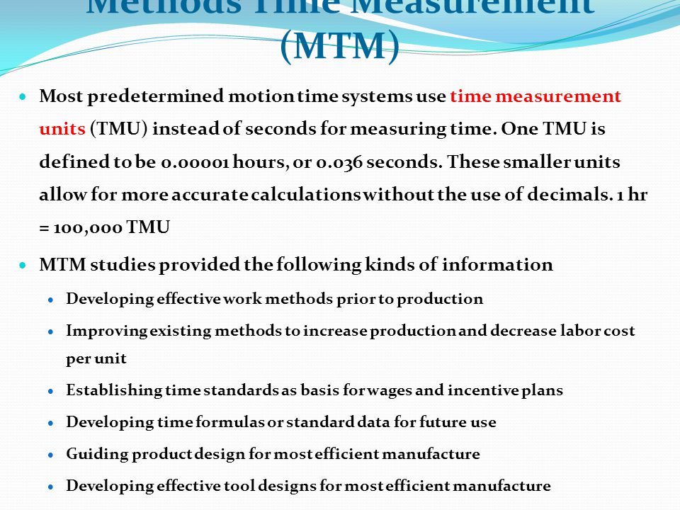 Methods Time Measurement (MTM)