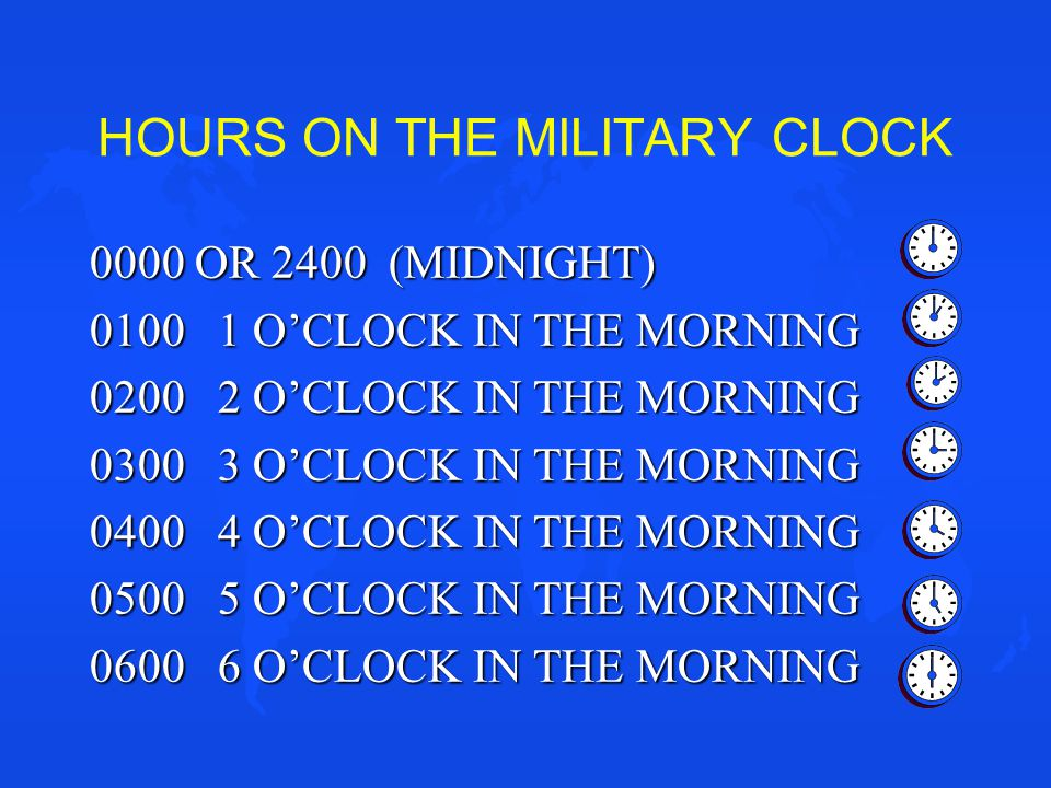 HOURS ON THE MILITARY CLOCK