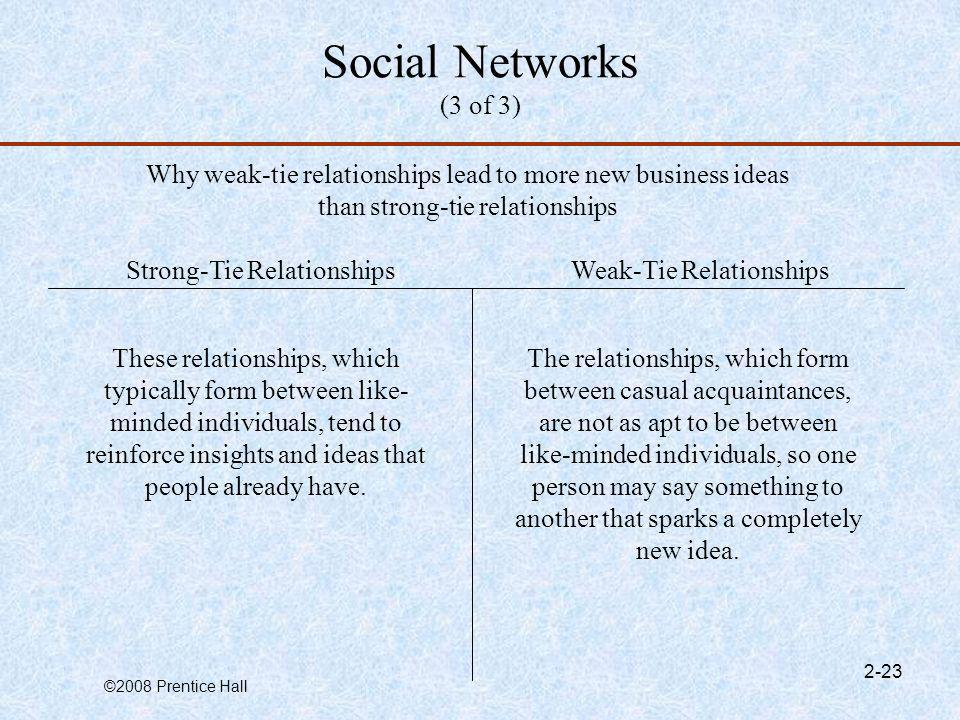 Social Networks (3 of 3) Why weak-tie relationships lead to more new business ideas than strong-tie relationships.