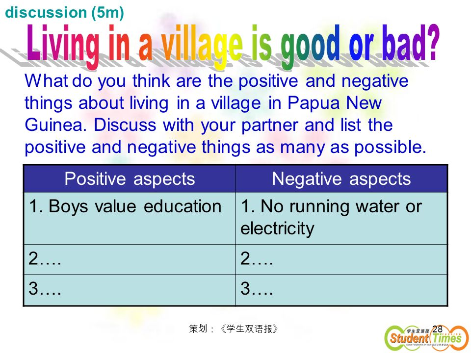 Living in a village is good or bad