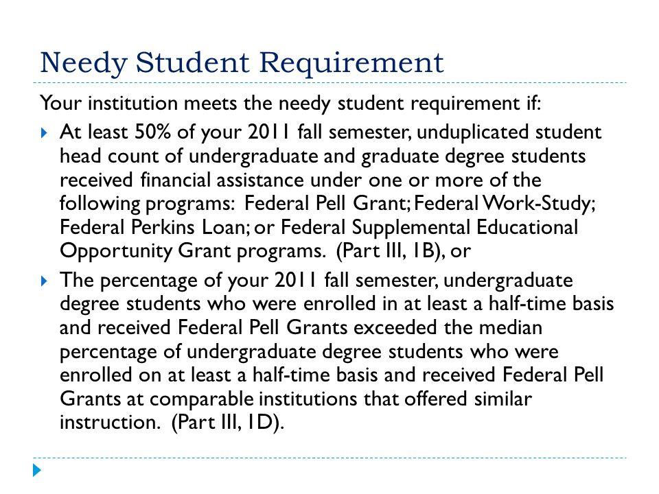 Needy Student Requirement