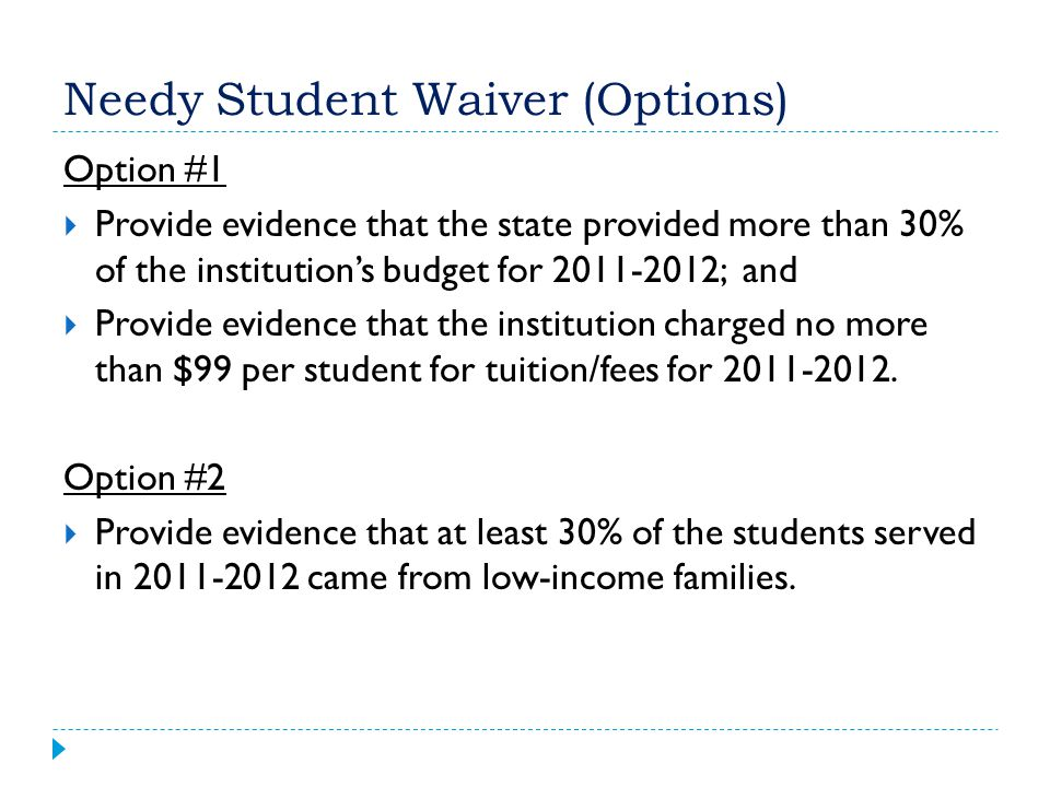 Needy Student Waiver (Options)