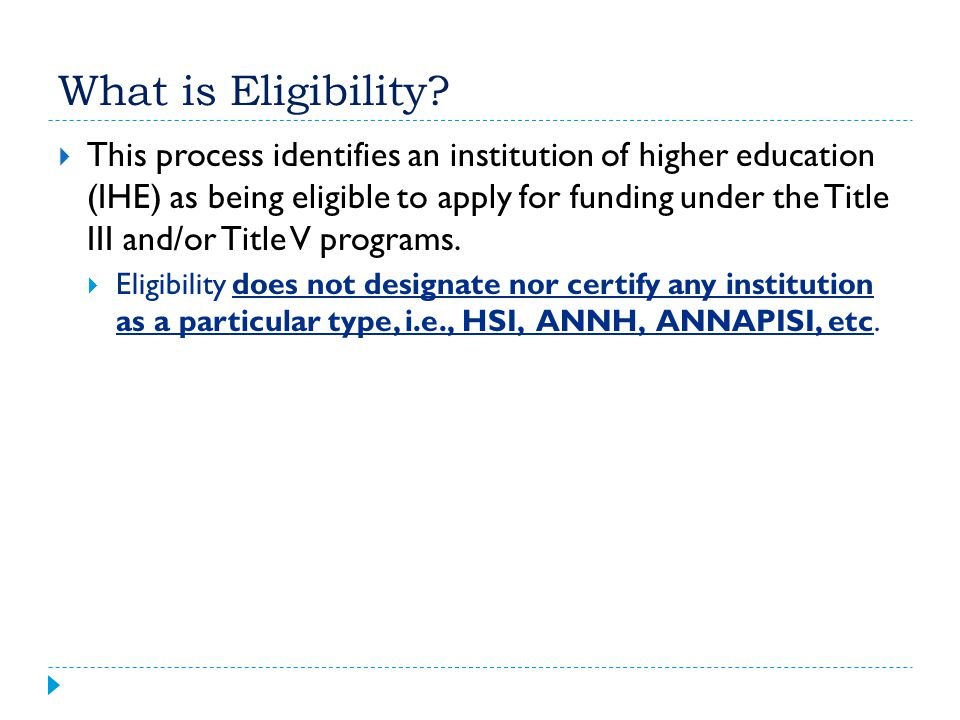 What is Eligibility