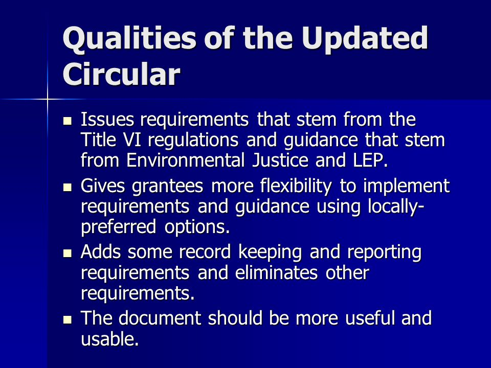 Qualities of the Updated Circular