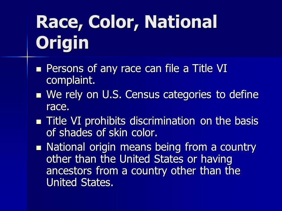 Race, Color, National Origin