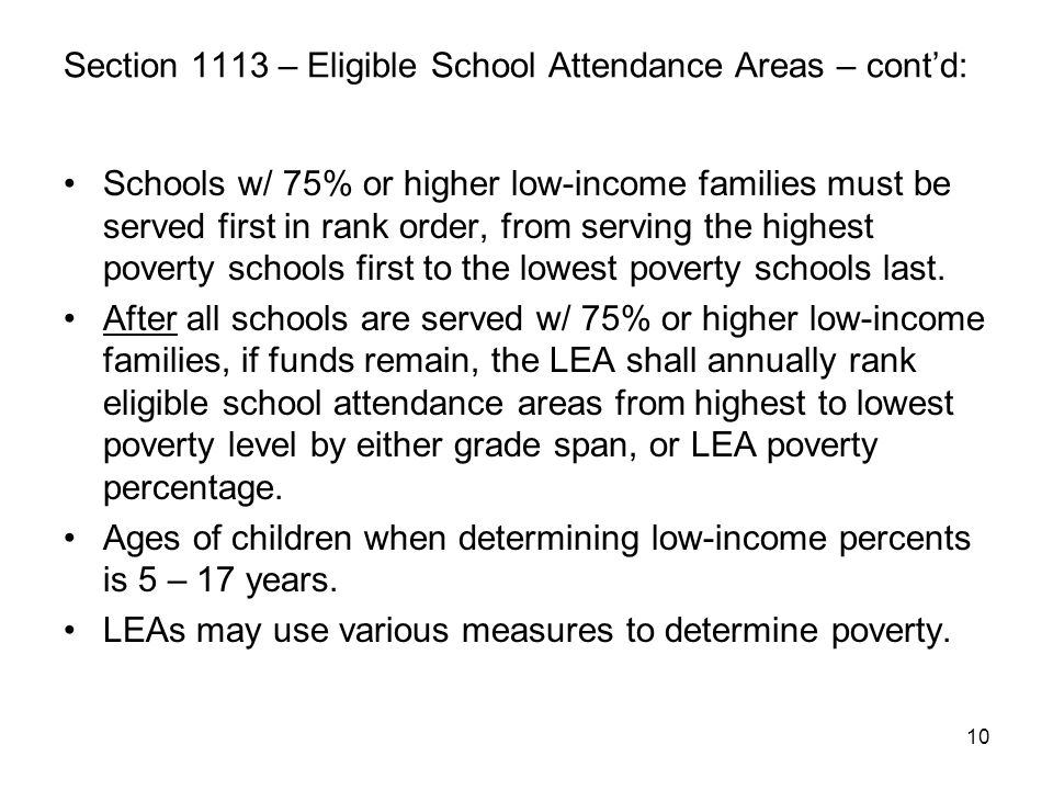 Section 1113 – Eligible School Attendance Areas – cont'd: