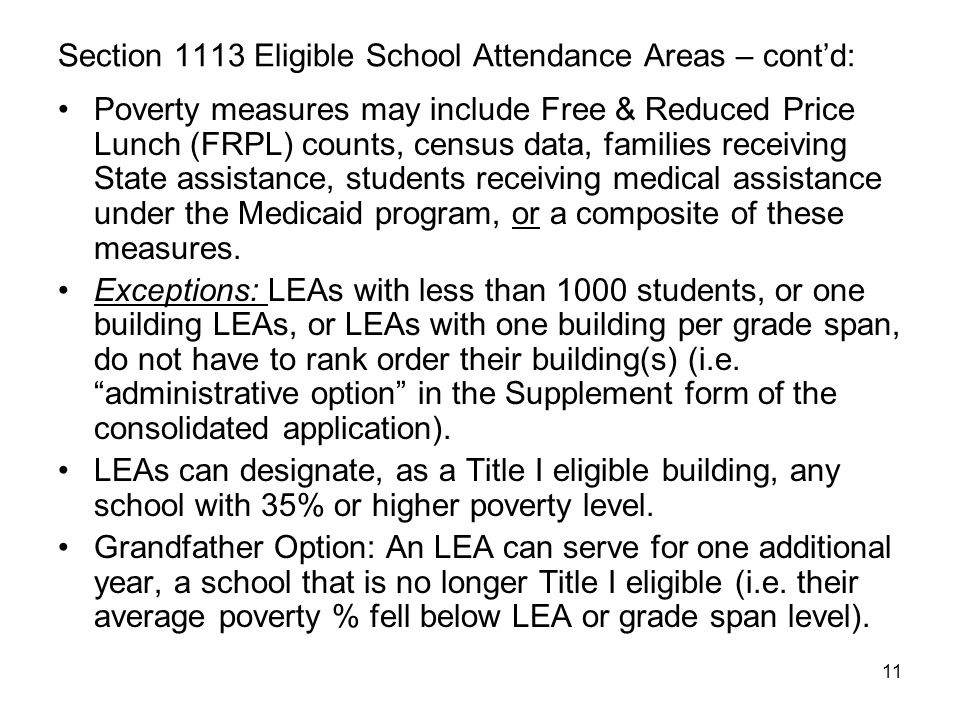 Section 1113 Eligible School Attendance Areas – cont'd: