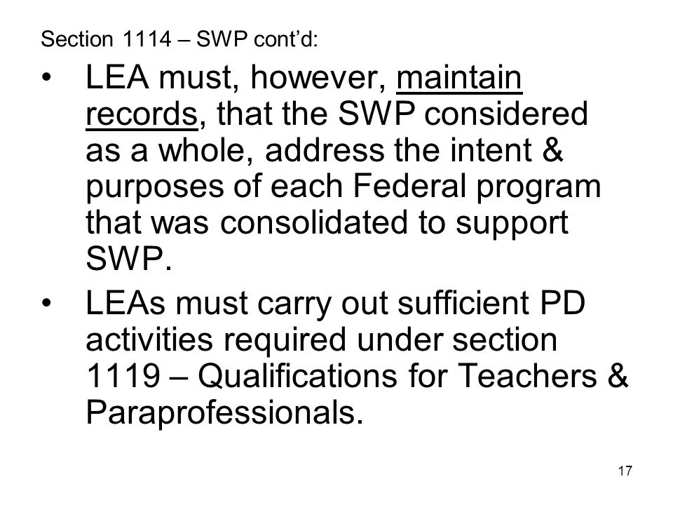 Section 1114 – SWP cont'd: