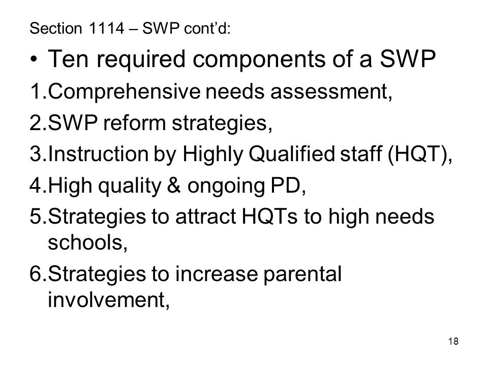 Ten required components of a SWP