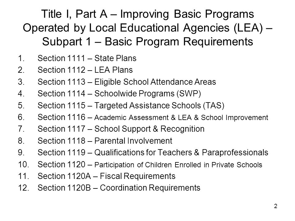 Title I, Part A – Improving Basic Programs Operated by Local Educational Agencies (LEA) – Subpart 1 – Basic Program Requirements