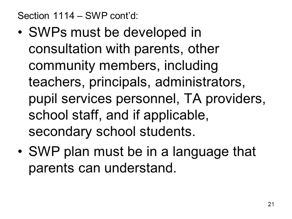 SWP plan must be in a language that parents can understand.