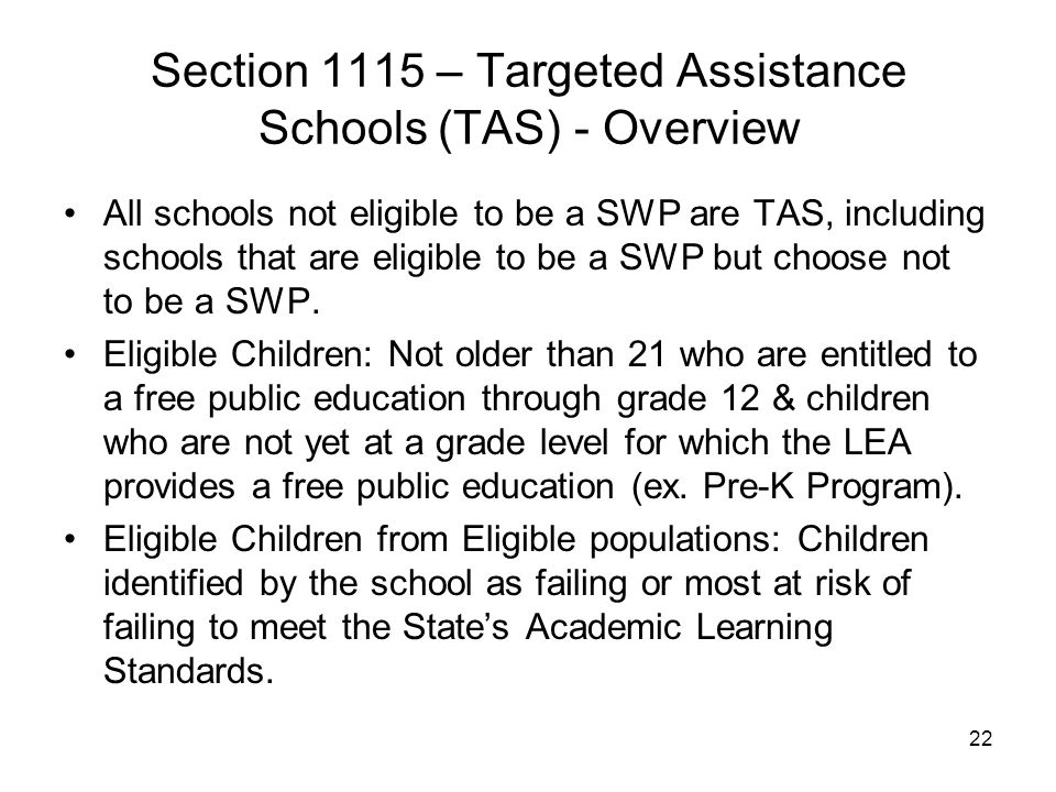 Section 1115 – Targeted Assistance Schools (TAS) - Overview