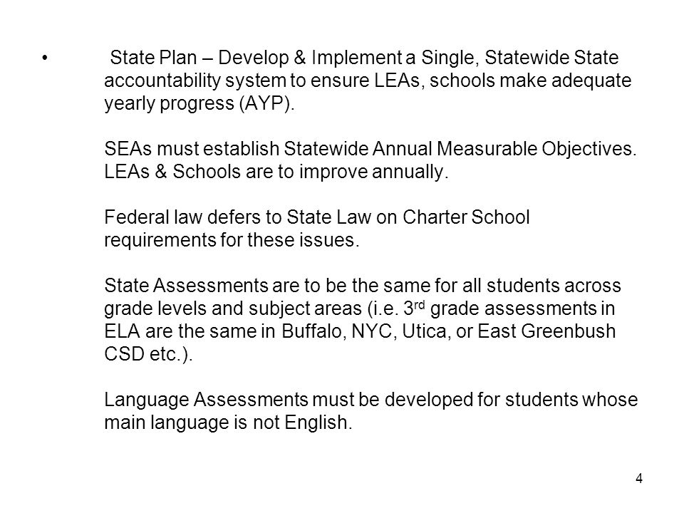 State Plan – Develop & Implement a Single, Statewide State accountability system to ensure LEAs, schools make adequate yearly progress (AYP).