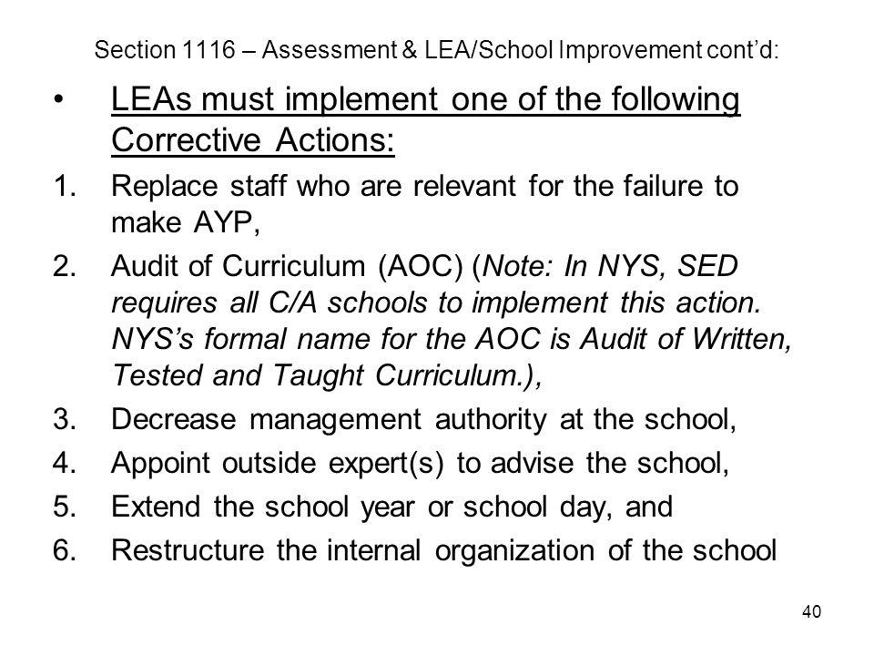 Section 1116 – Assessment & LEA/School Improvement cont'd: