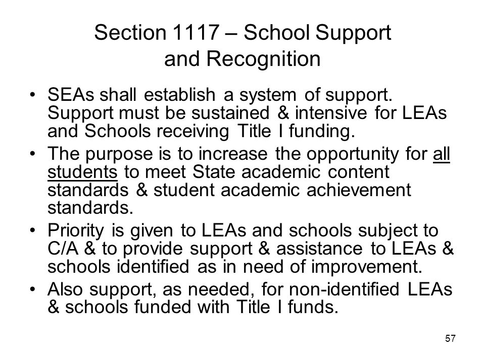 Section 1117 – School Support and Recognition