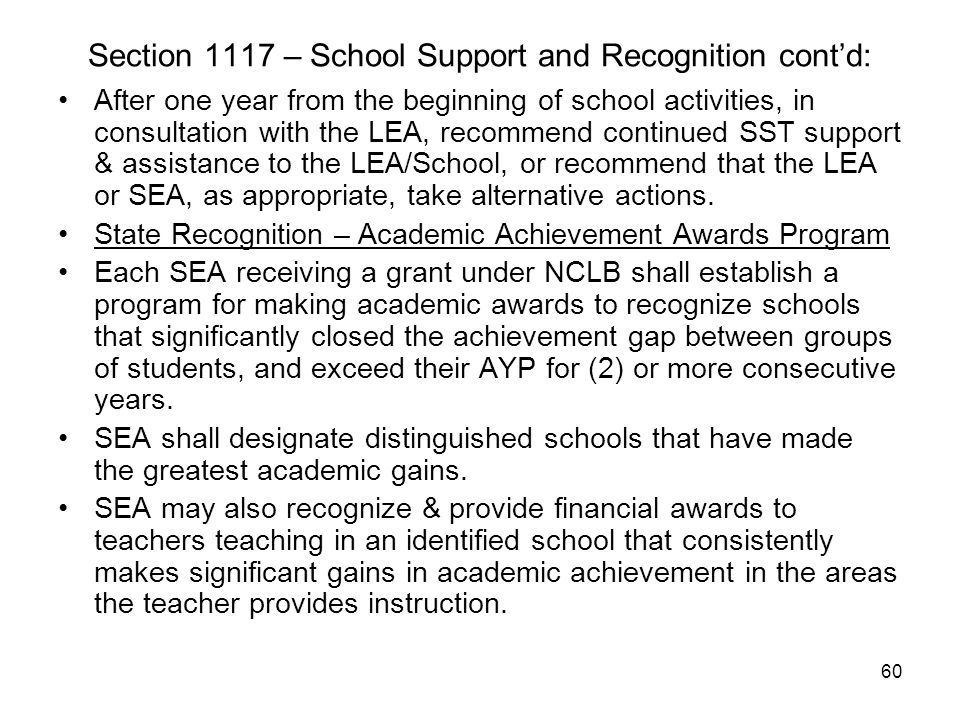 Section 1117 – School Support and Recognition cont'd: