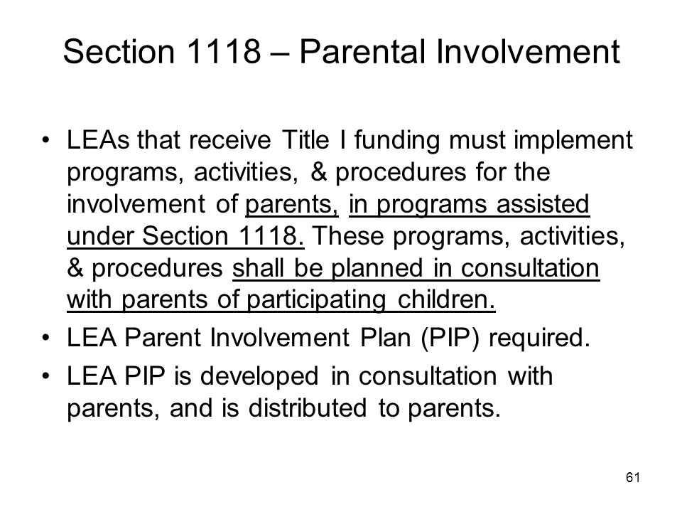 Section 1118 – Parental Involvement