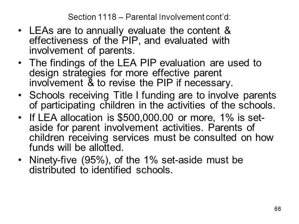 Section 1118 – Parental Involvement cont'd: