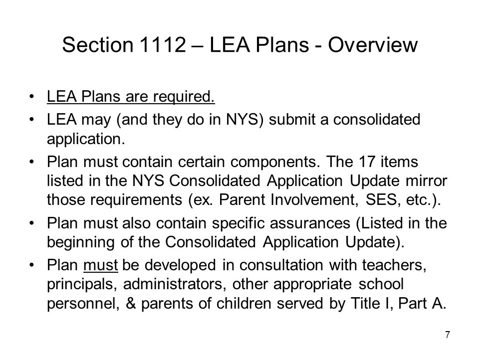 Section 1112 – LEA Plans - Overview
