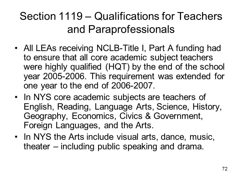 Section 1119 – Qualifications for Teachers and Paraprofessionals