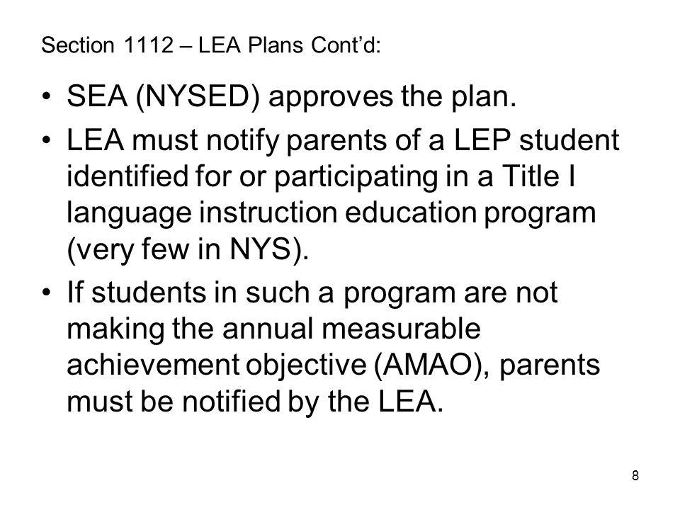 Section 1112 – LEA Plans Cont'd: