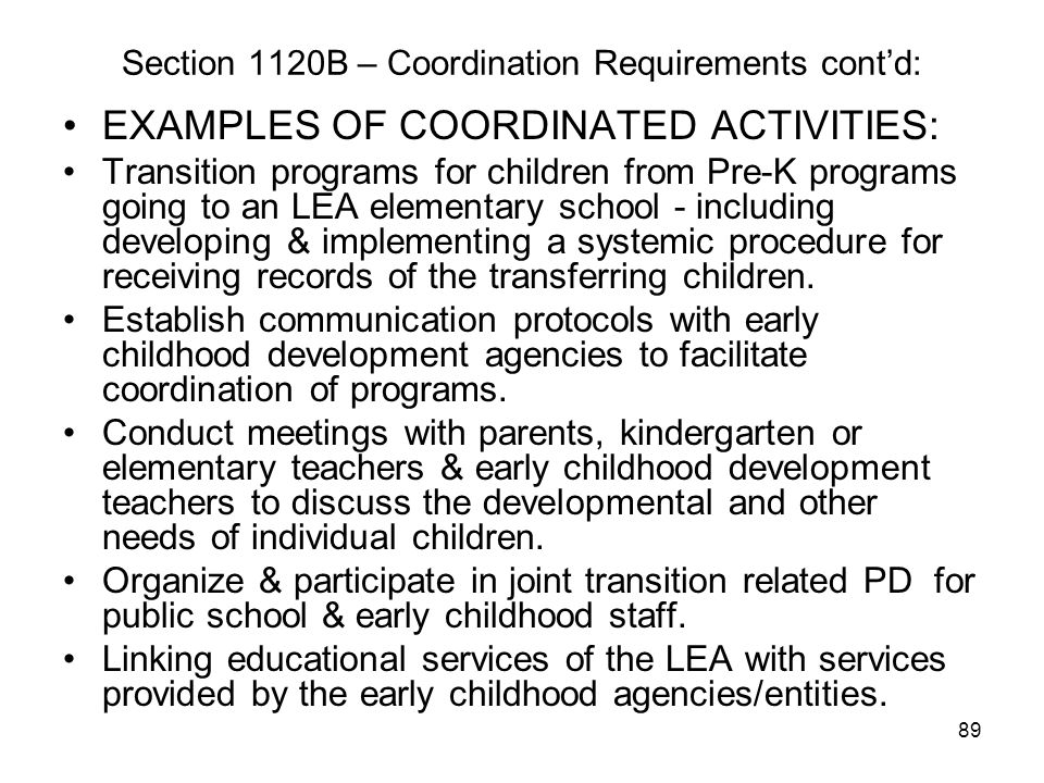 Section 1120B – Coordination Requirements cont'd: