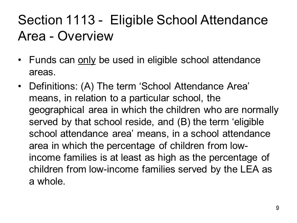 Section 1113 - Eligible School Attendance Area - Overview
